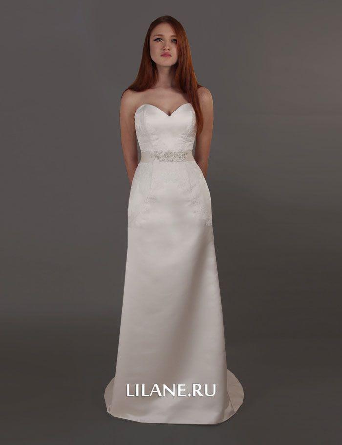 Кружевной декор корсета прямого свадебного платья Molli