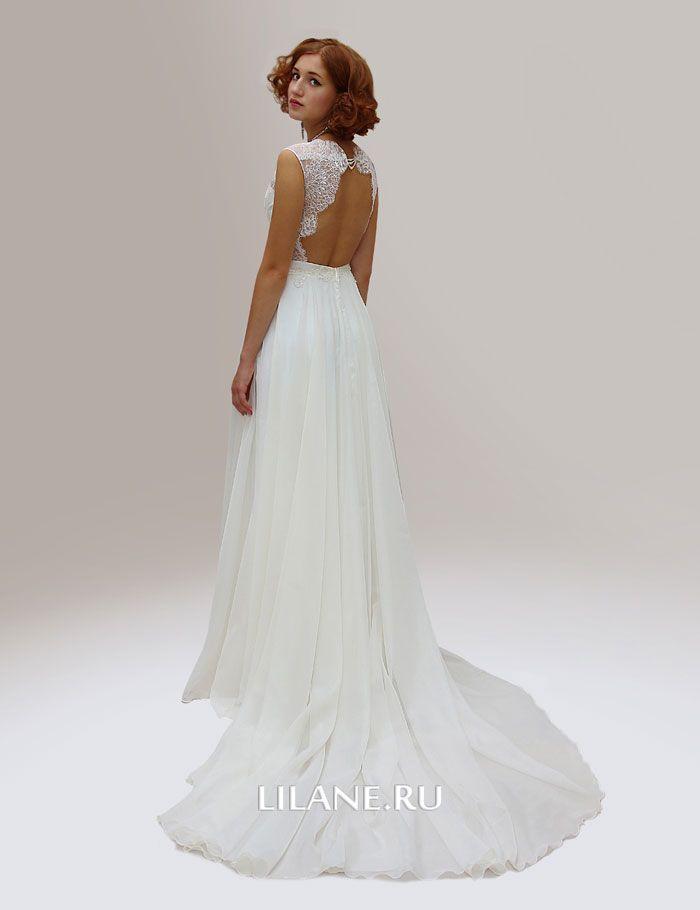 Открытая спинка прямого свадебного платья Ninel