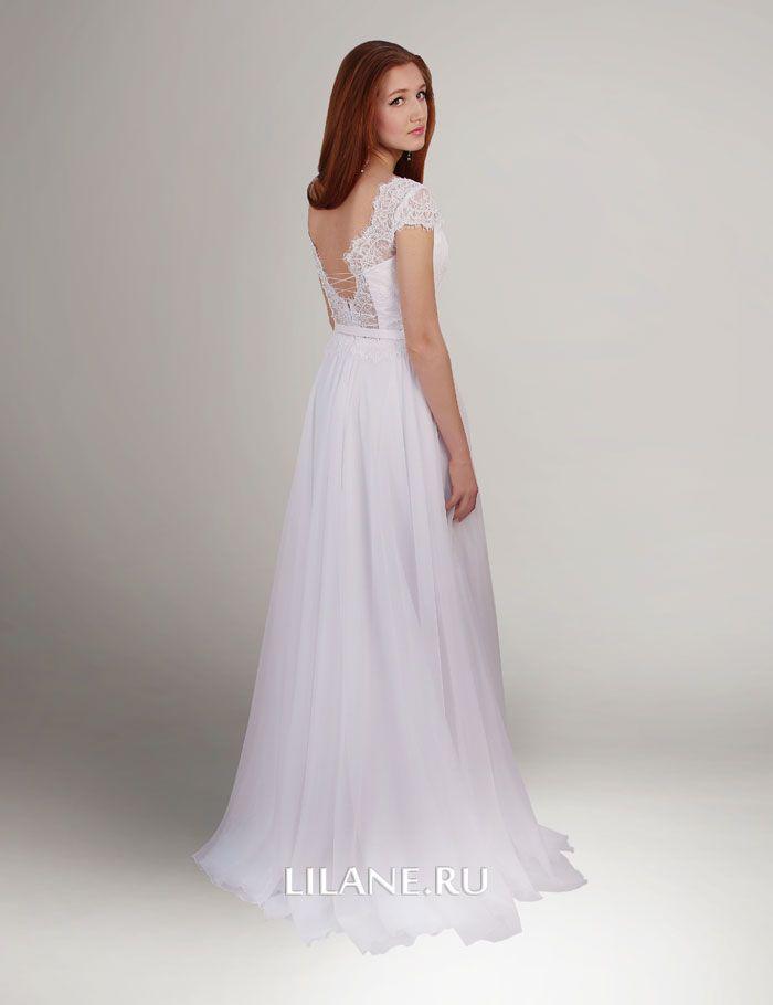 Спинка кружевного лифа прямого свадебного платья Sofi