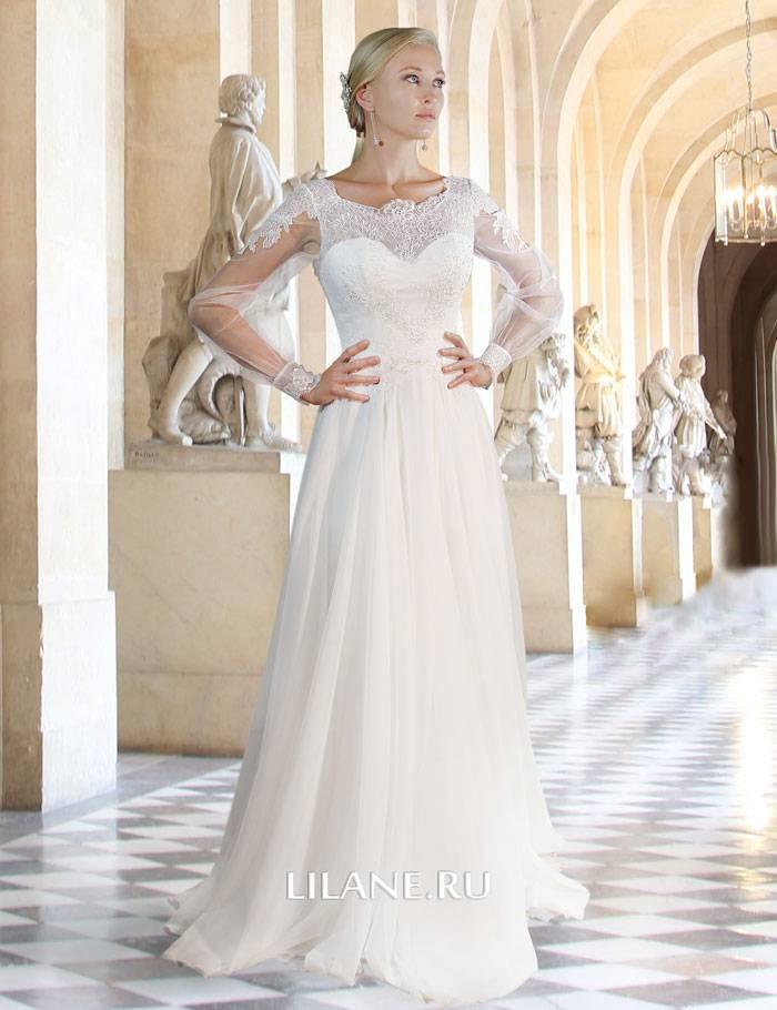 Закрытое прямое свадебное платье Sylvia