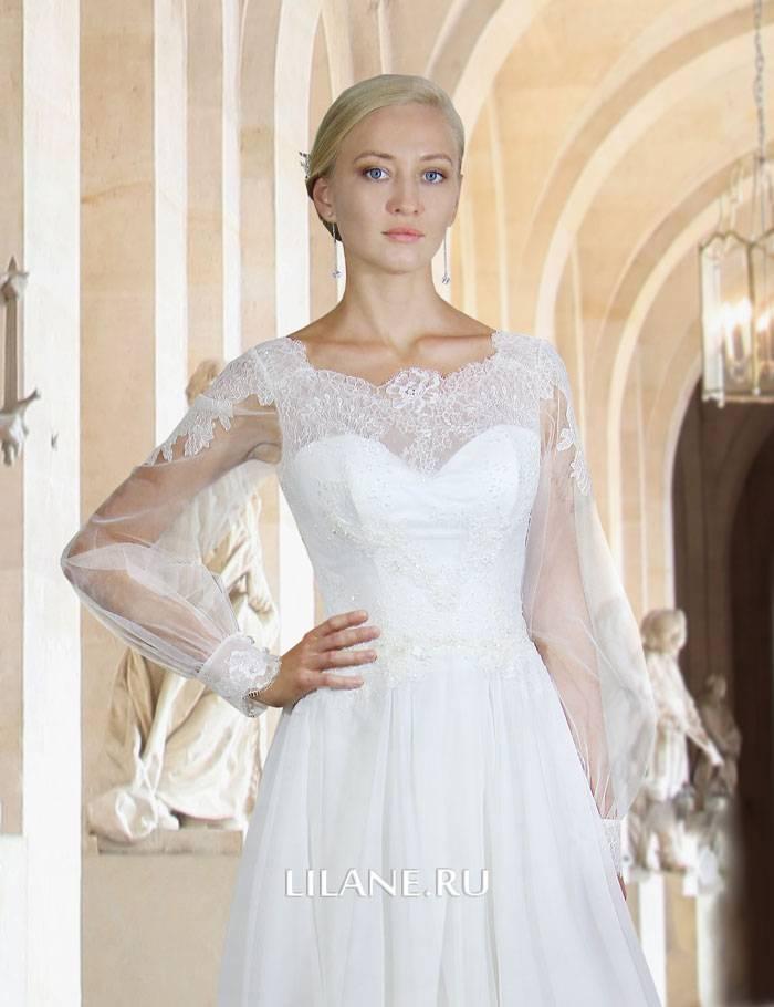 Полупрозрачный рукав цвета айвори прямого свадебного платья Sylvia