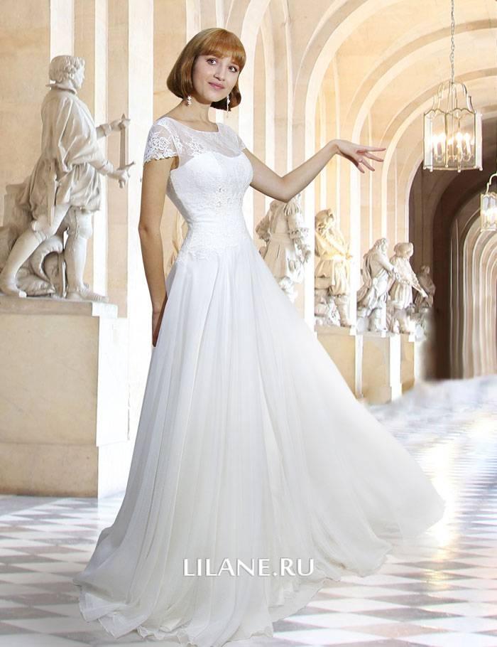 Кружевное закрытое прямое свадебное платье Tess с короткими рукавами и струящейся юбкой