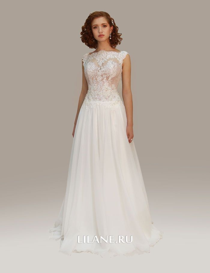 Легкая юбка с небольшим шлейфом прямого свадебного платья Uma