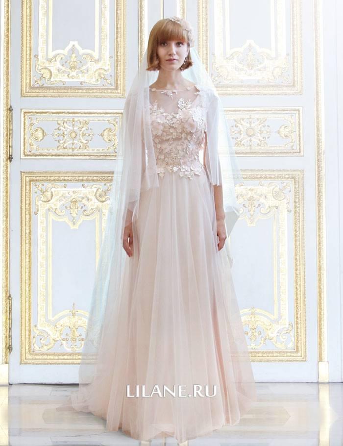 Цветное прямое свадебное платье Valentina с фатой