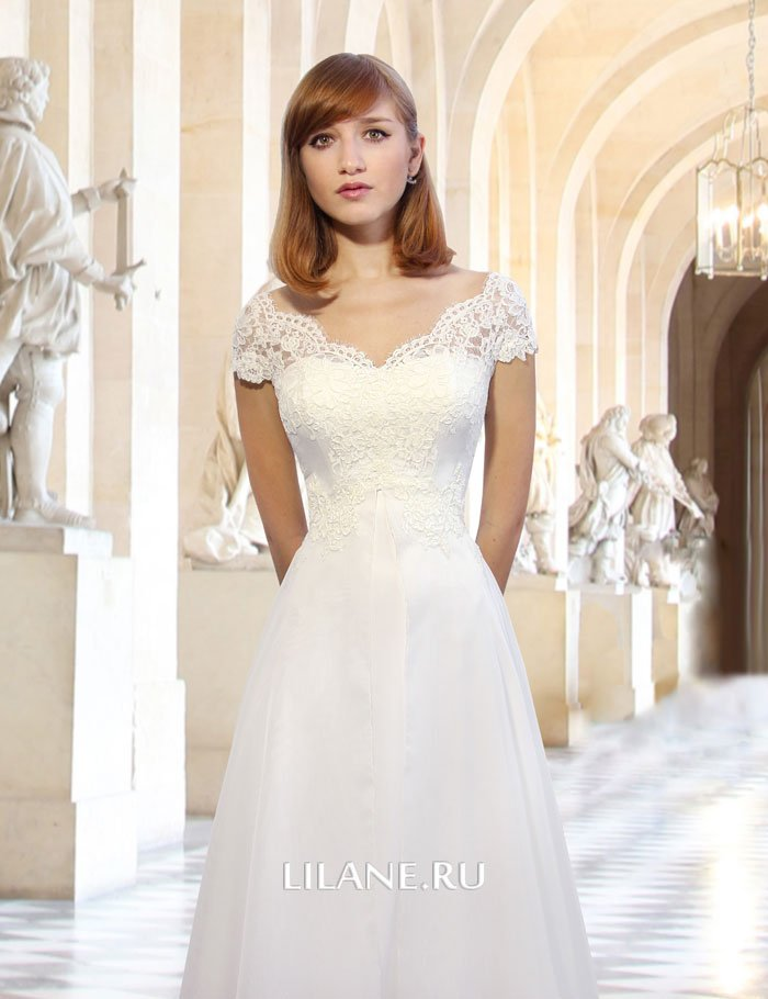 V-образный вырез горловины свадебного платья Vera