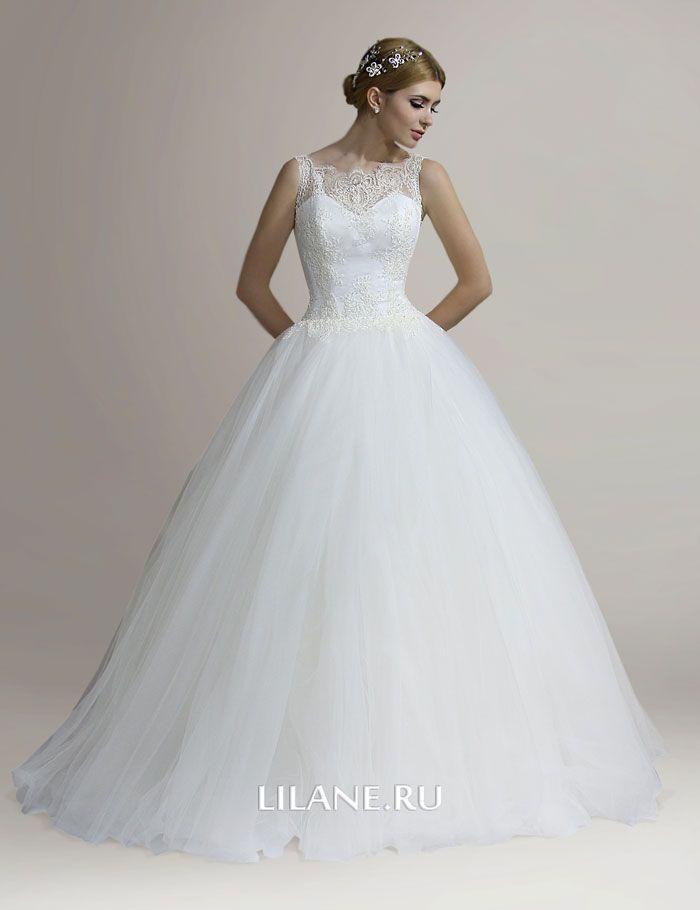 Пышное свадебное платье Elison с закрытым верхом цвета айвори