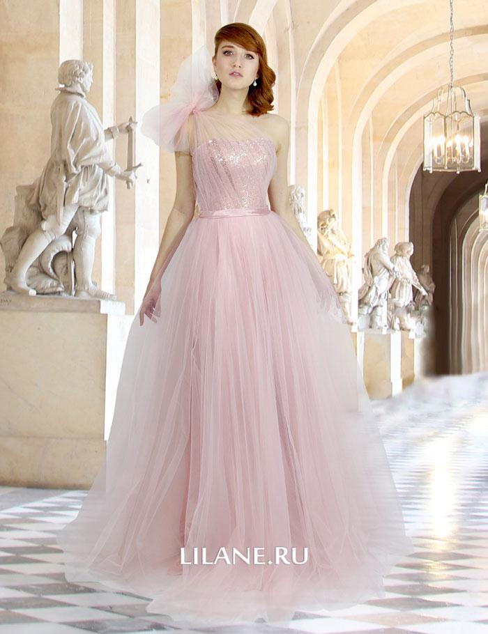 Пышное цветное свадебное платье Irene светло-розово цвета