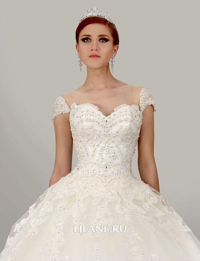 Декор корсета и юбки пышного свадебного платья Lara