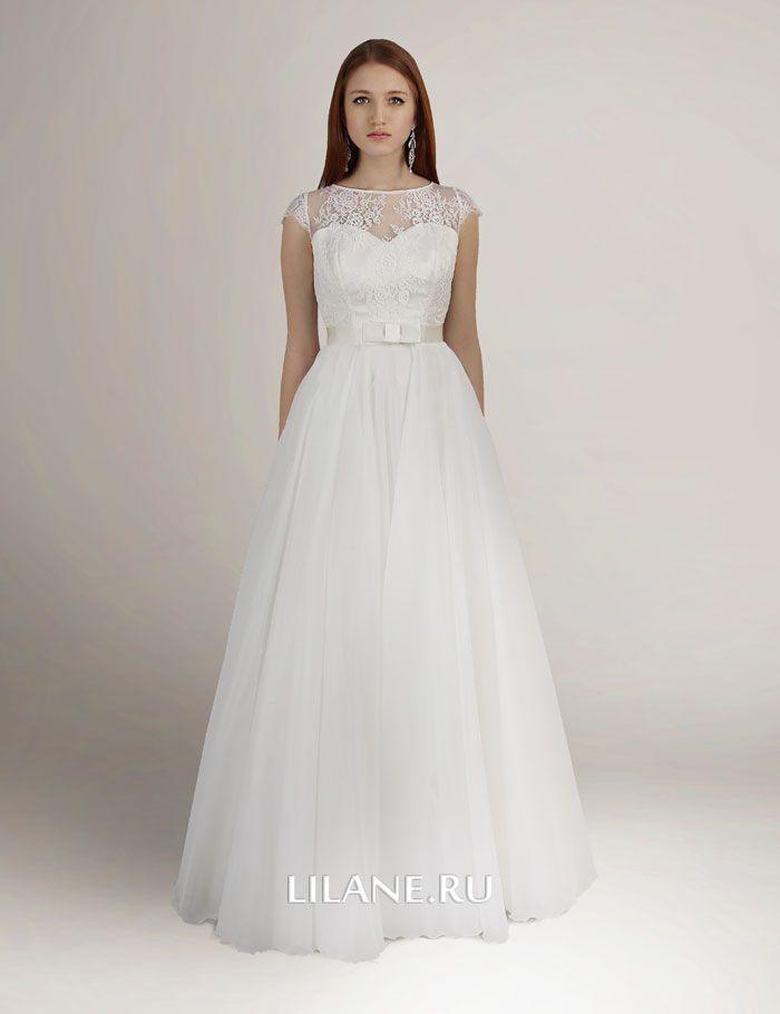 Закрытый кружевной лиф с корсетом пышного свадебного платья Larina