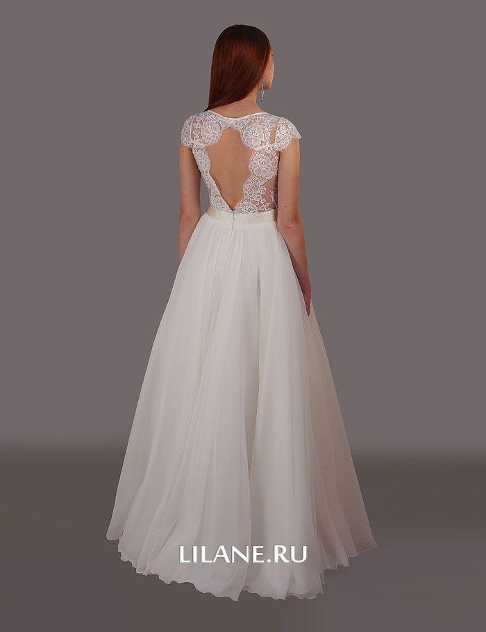Кружевная спинка корсета пышного свадебного платья Larina