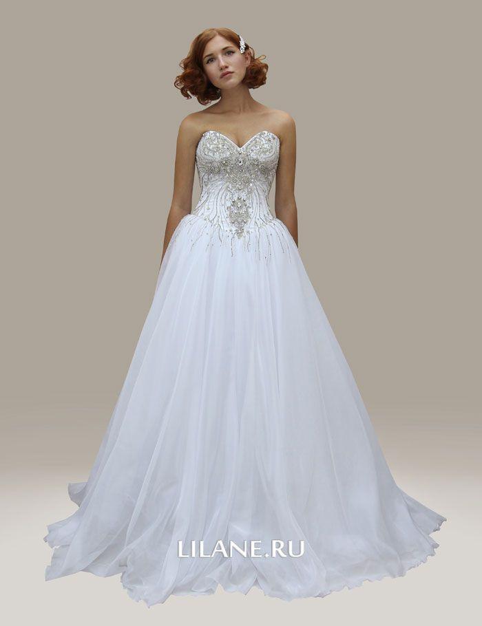 Украшения роскошного корсета пышного свадебного платья Lea