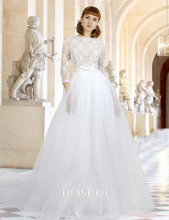 Пышное белое свадебное платье Lesya с рукавами и закрытым кружевным лифом