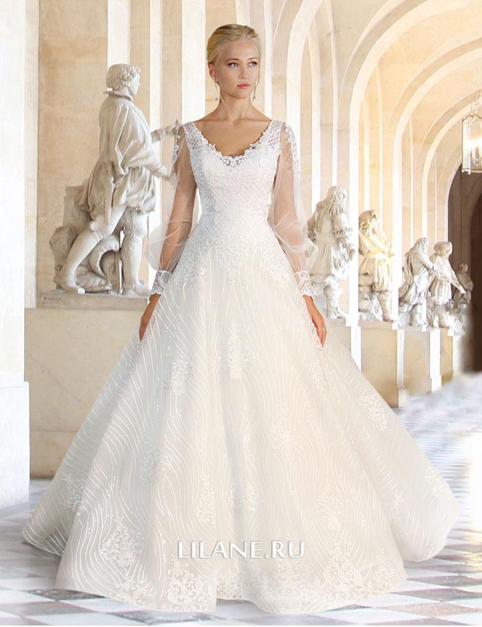 Пышное кружевное свадебное платье Melody с рукавами