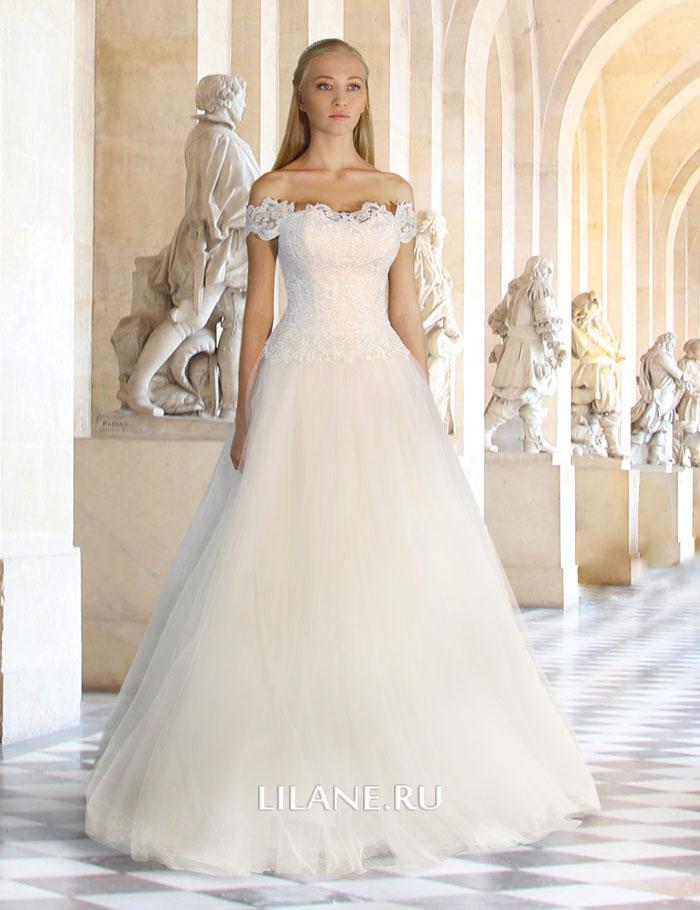 Пышное свадебное платье Mila с кружевным корсетом и открытыми плечами