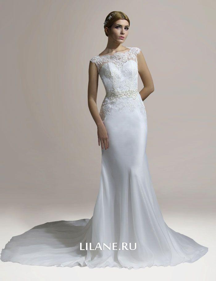 Кружевной декор юбки свадебного платья рыбка Emili