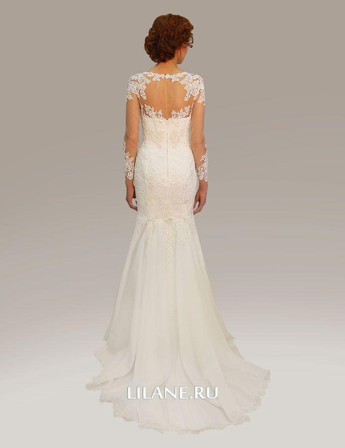 Декор кружева полупрозрачной спинки свадебного платья рыбка Luiza