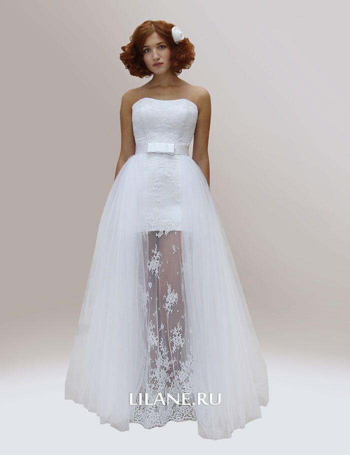Отстёгивающаяся пышная фатиновая юбка свадебного платья трансформер Diana