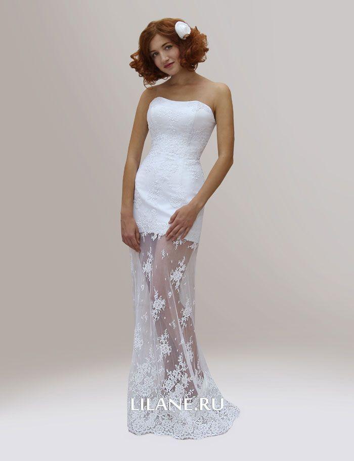 Кордовое кружево и полупрозрачная юбка свадебного платья трансформер Diana