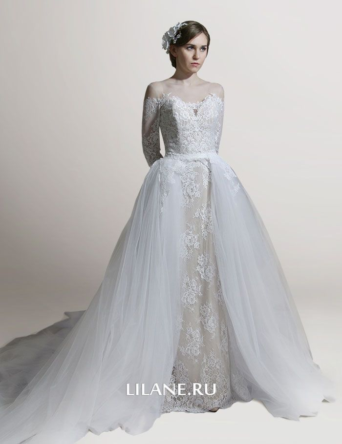 Шлейф стильного свадебноого платья трансформер Manon