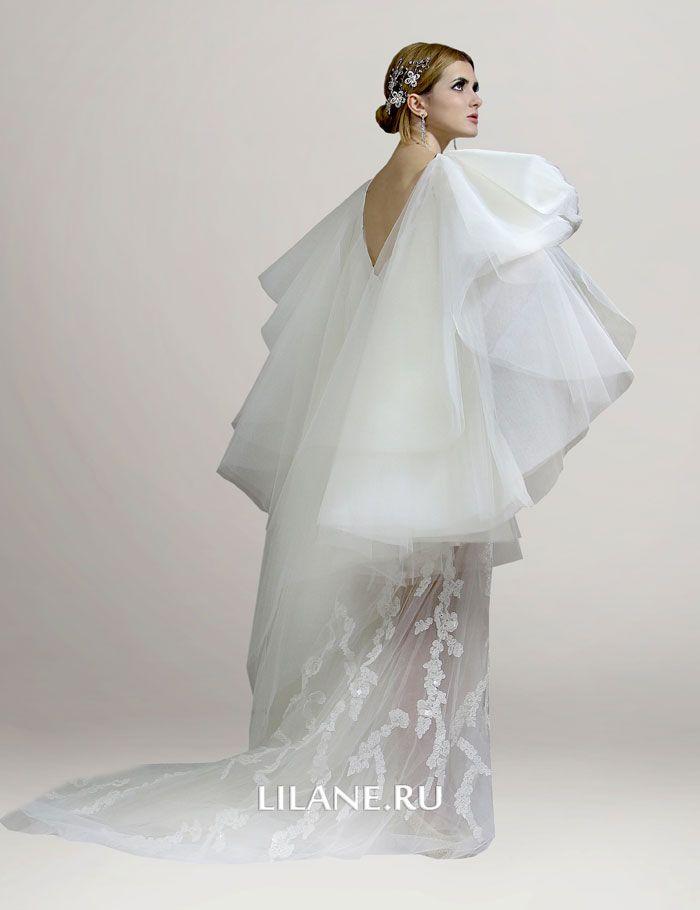 Съёмная юбка на плечах свадебного платья трансформер Monika